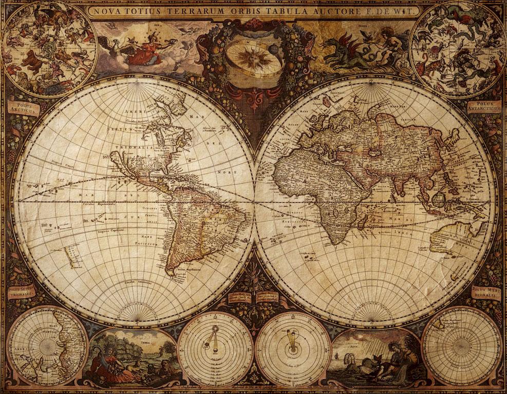 3D Фотообои 3D Фотообои  «Карта мира для кабинета»