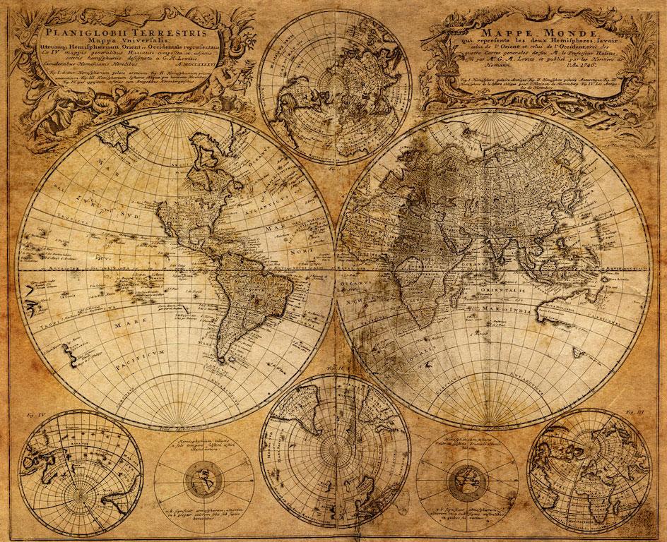 3D Фотообои 3D Фотообои  «Старая карта мира»