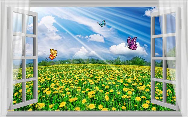 3D Фотообои 3D Фотообои  «С видом из окна на поле одуванчиков»
