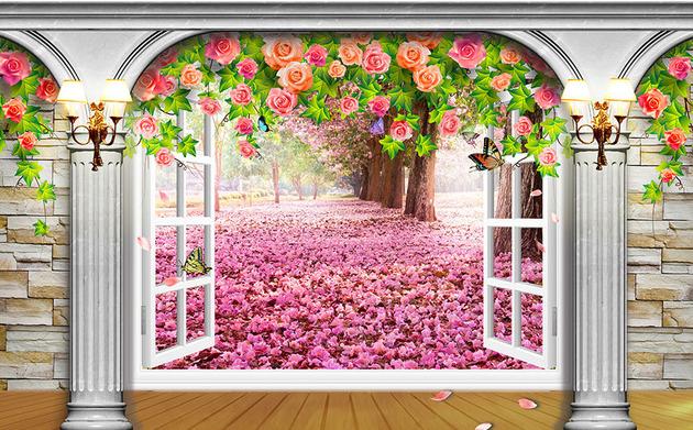 3D Фотообои 3D Фотообои  «Арка-окно с видом на деревья сакуры»
