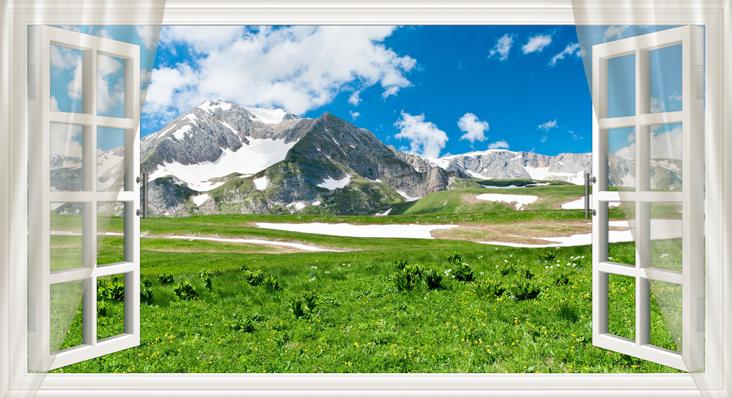 3D Фотообои 3D Фотообои  «Вид из окна на горную природу»