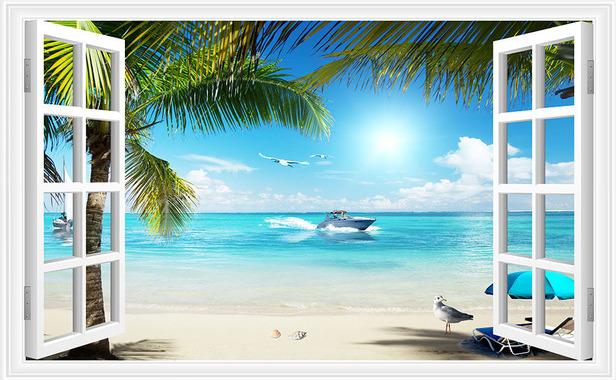 3D Фотообои 3D Фотообои  «Вид из окна на пляж»