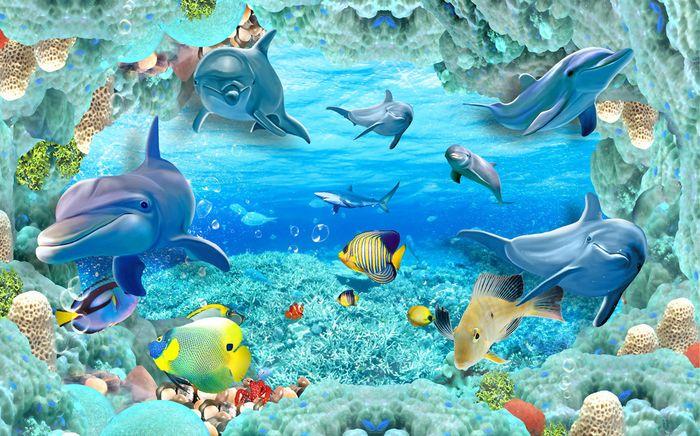 3D Фотообои «В подводной пещере»