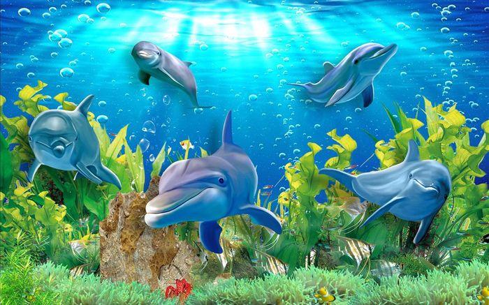 3D Фотообои 3D Фотообои «Дельфины»