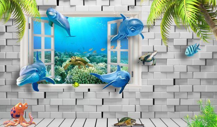 3D Фотообои 3D Фотообои «Окно в подводный мир»