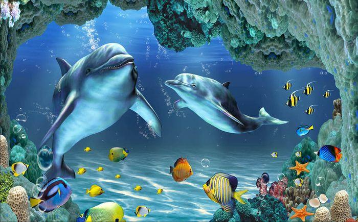 3D Фотообои 3D Фотообои «Пара дельфинов»
