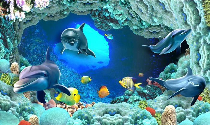 3D Фотообои 3D Фотообои «Пещера под водой»