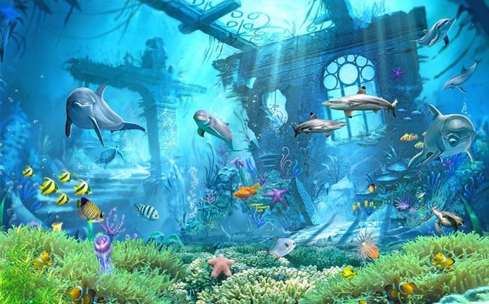 3D Фотообои 3D Фотообои «Подводные развалины»