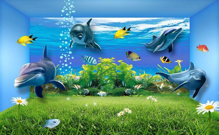 3D Фотообои 3D Фотообои «Полянка под водой»