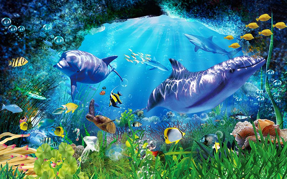 3D Фотообои «Глубоко под водой»
