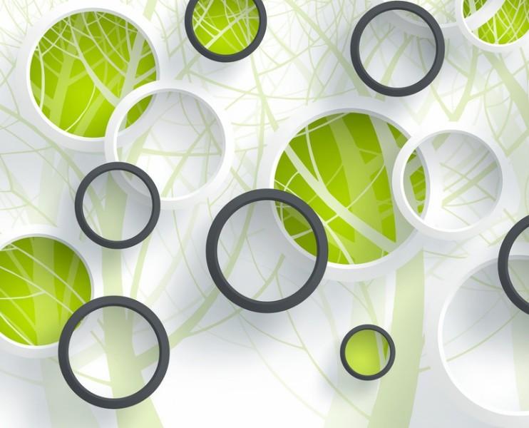 3D Фотообои «Объемные зеленые круги» 315x255