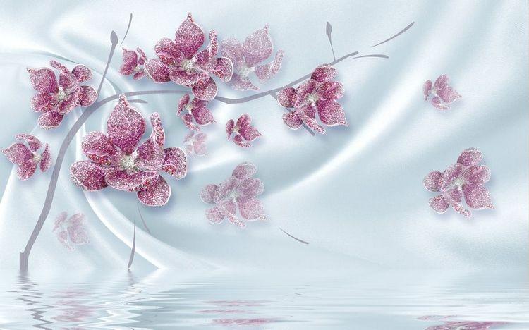 3D Фотообои 3D Фотообои «Ювелирная орхидея на шелковом фоне»