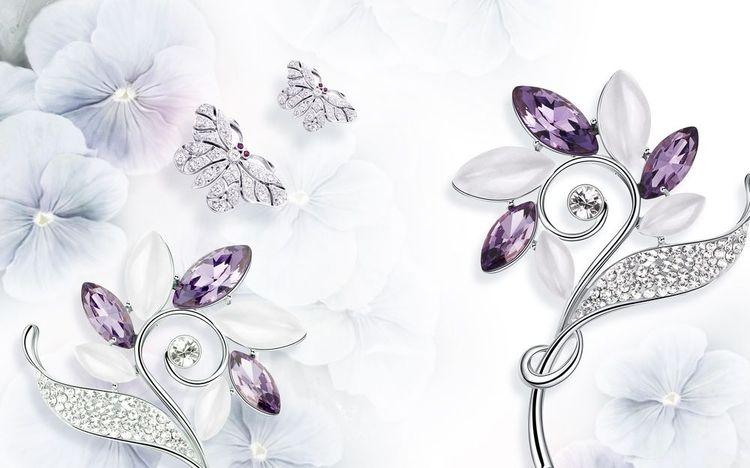 3D Фотообои 3D Фотообои «Ювелирные цветы и бабочки»