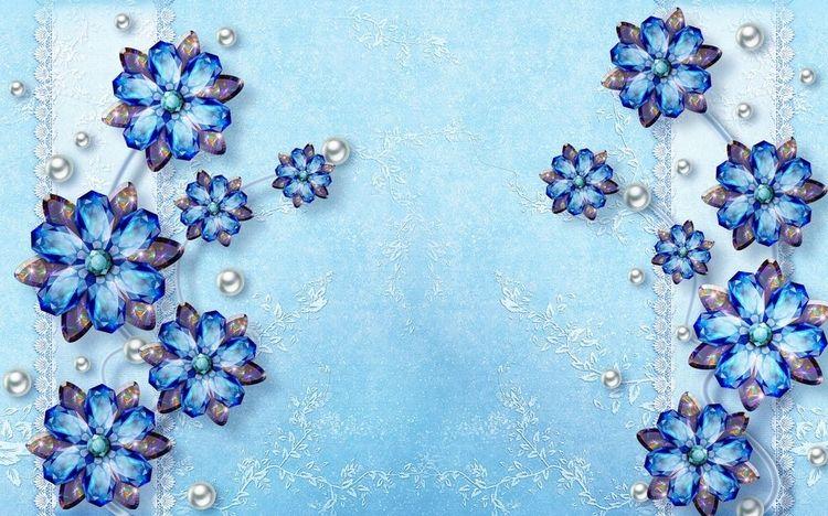 3D Фотообои 3D Фотообои «Драгоценные цветы на голубом фоне»