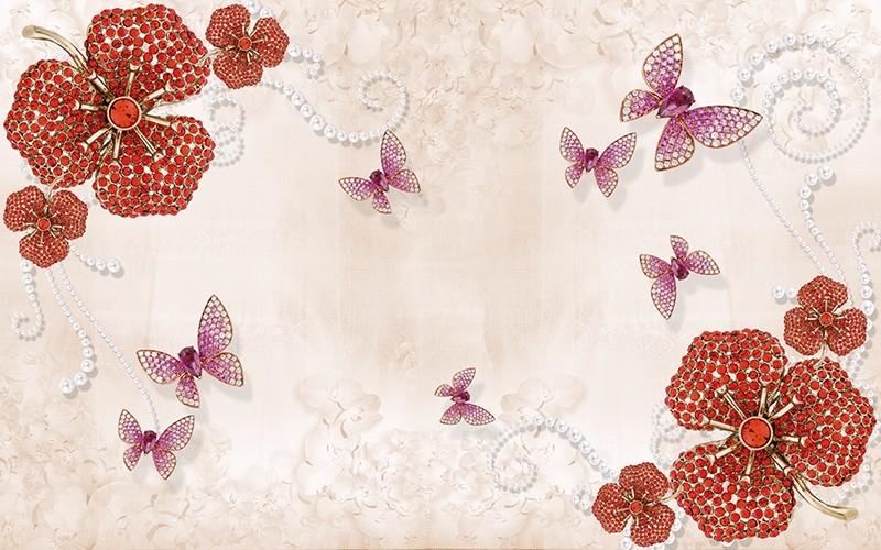 3D Фотообои 3D Фотообои «Композиция с ювелирными бабочками»