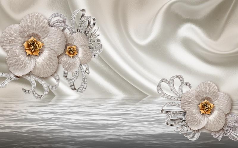 3D Фотообои 3D Фотообои  «Драгоценная беладонна на шелке»