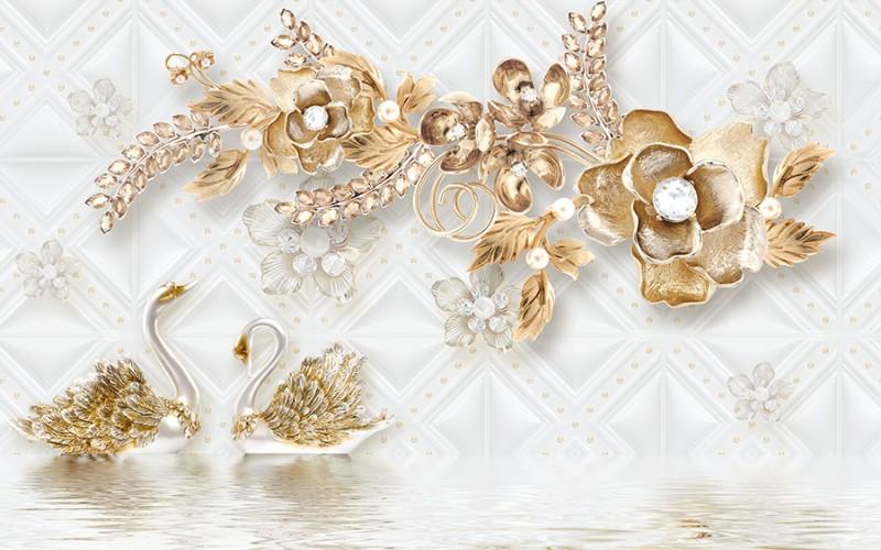 3D Фотообои 3D Фотообои «Роскошные ювелирные цветы с лебедями»