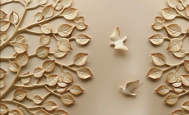 3D Фотообои 3D Фотообои  «Трехмерный рельеф с голубями и кронами деревьев»