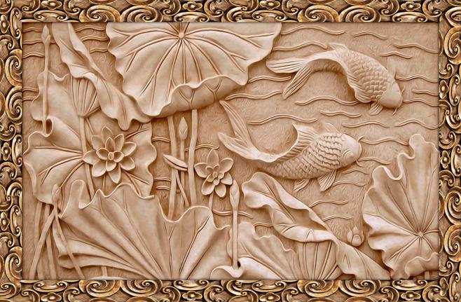 3D Фотообои 3D Фотообои  «Резьба по дереву в китайском стиле»
