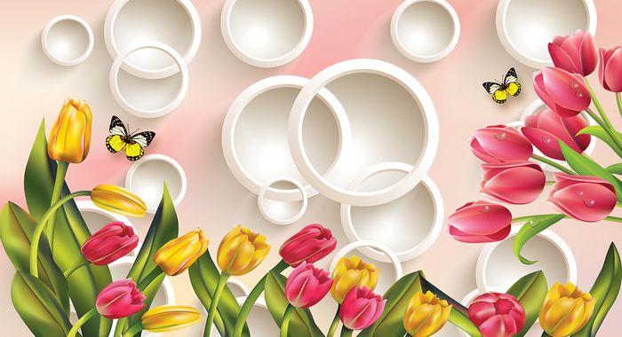 3D Фотообои 3D Фотообои  «Красно-желтые тюльпаны с бабочками»