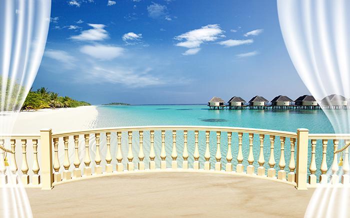 3D Фотообои 3D Фотообои  «С видом на террасу Мальдивы»