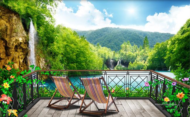 3D Фотообои 3D Фотообои  «Балкон в долине водопадов»