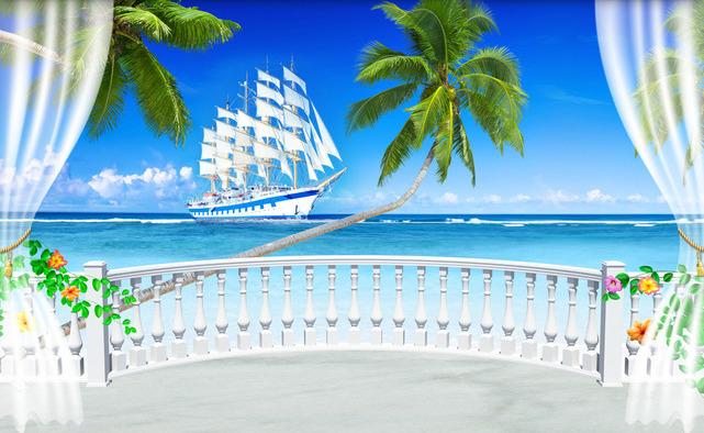 """3D Фотообои 3D Фотообои  """"Терраса с видом на море и пляж"""""""