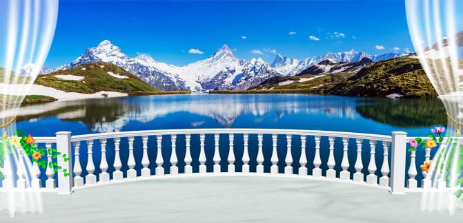 3D Фотообои 3D Фотообои  «Вид с балкона террасы на горы»
