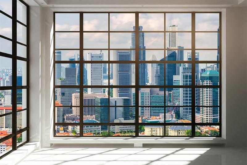3D Фотообои 3D Фотообои «Окна с панорамным видом на город»