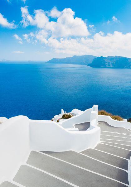 3D Фотообои 3D Фотообои «Белая лестница. Санторини»