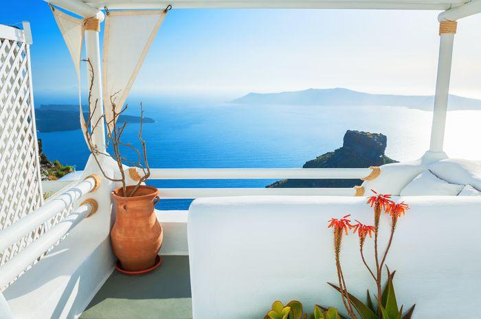 3D Фотообои 3D Фотообои «Балкончик на берегу лазурного моря»