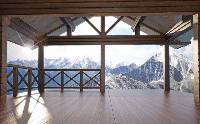 3D Фотообои 3D Фотообои «Вид с террасы альпийского шале»