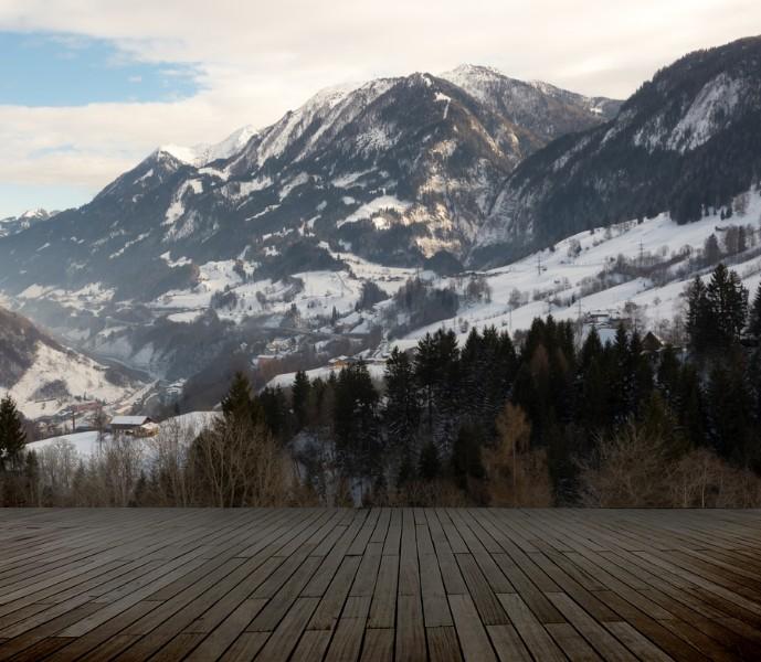 3D Фотообои 3D Фотообои «Терраса в долине с видом на горы»