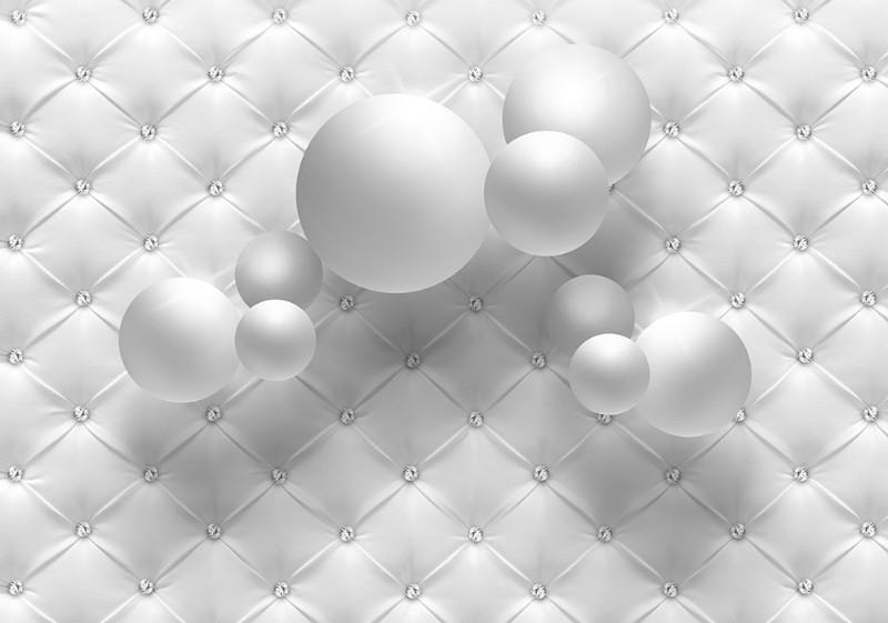 3D Фотообои 3D Фотообои «Шары на фоне стёганой кожи»