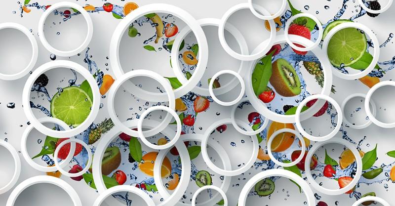 3D Фотообои 3D Фотообои «Фрукты с брызгами воды»