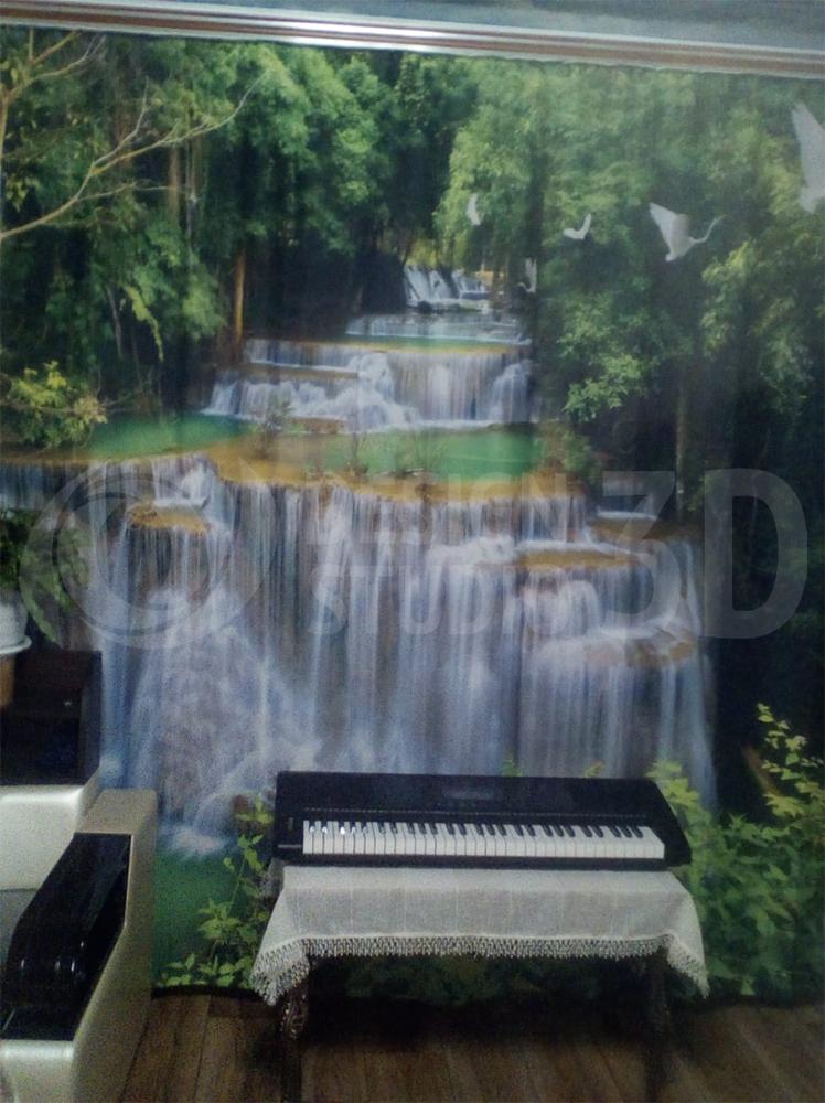 Фотошторы «Водопад с журавлями»